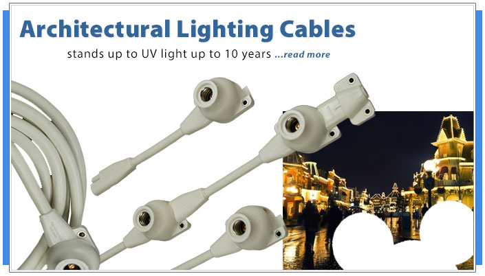 Rugged climate tolerant UV tolerant outdoor custom architectural lighting cables