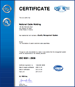 National Wire - our ISO certificate